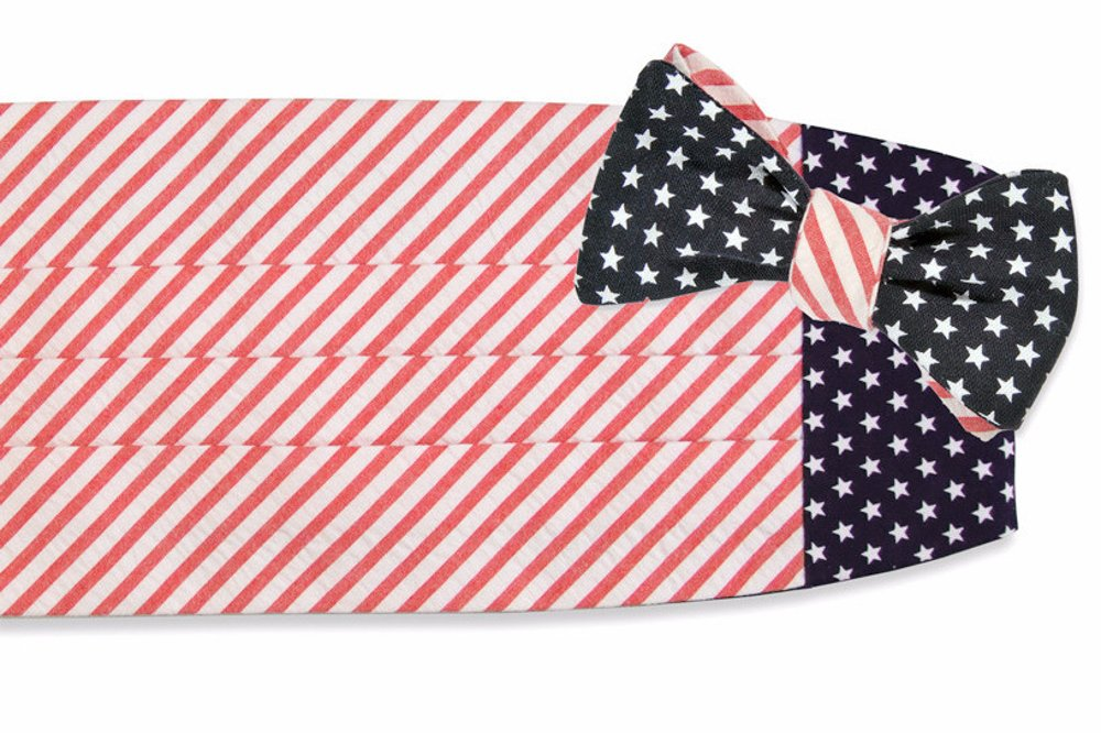 High Cotton Men's Self Tie Stars and Stripes Cummerbund Set