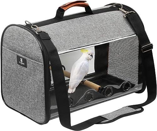 X-ZONE PET Bird Travel Bag Portable Pet Bird Parrot Carrier Transparent Breathable Travel Cage,Lightweight Bird Carrier,Bird Travel Cage
