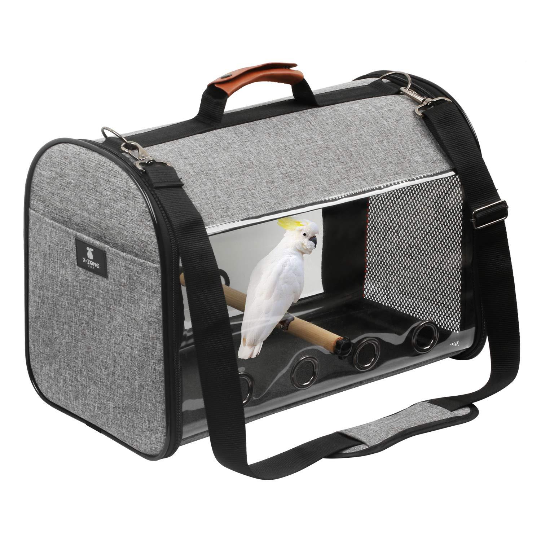 X-ZONE PET Bird Travel Bag Portable Pet Bird Parrot Carrier Transparent Breathable Travel Cage,Lightweight Bird Carrier…