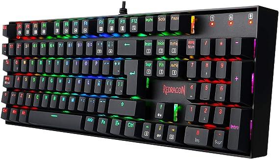 Redragon K551RGB MITRA Teclado Mecánico Gaming, RGB, Reforzado, interruptores azules, Distribución Española - Color Negro - PC Windows compatible