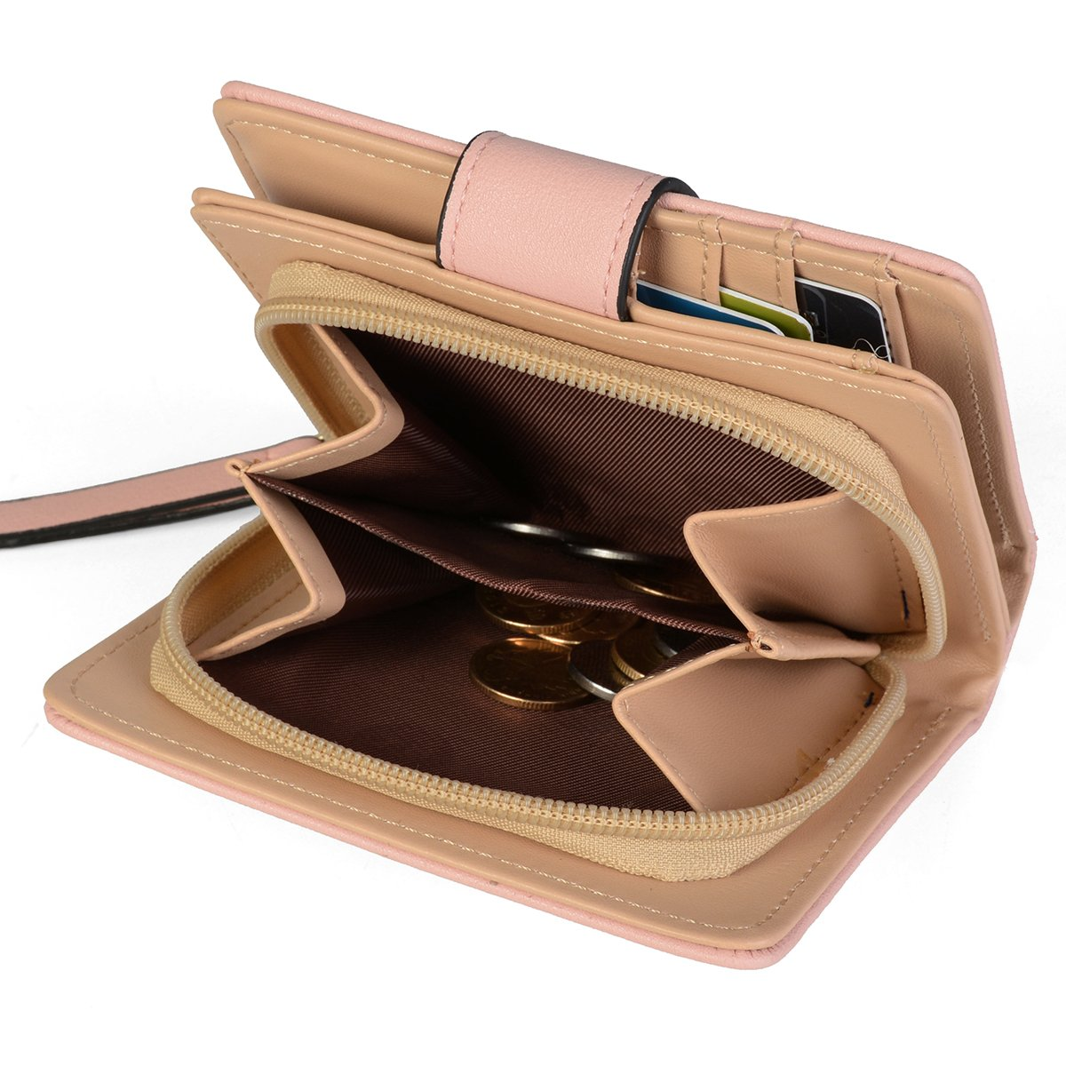 Women's Short Leather Wallet Leaf Bifold Card Coin Holder Small Purses Buckle Zipper Clutch,Pink-by Vodiu by vodiu (Image #5)