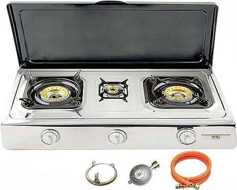 Nsd de 3 C Acero Inoxidable de calidad Hornillo de gas 3 focos con tapa 10 KW con zündsichrung LPG camping hervidor Cocina de gas Wok taburete ...