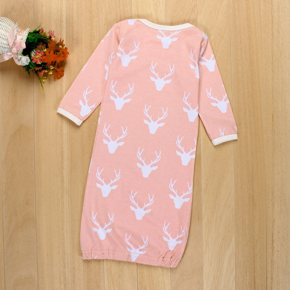 Pajama Christmas Deer Sleeping Bag Anti-Kick Nightgown Gown+Hat+Mittens Set for Newborn Infant Baby Girls Boys
