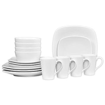 Noritake White on White Porcelain Square Swirl 16-Piece Dinnerware Set  sc 1 st  Amazon.com & Amazon.com | Noritake White on White Porcelain Square Swirl 16-Piece ...
