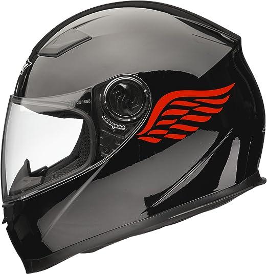 Coppia di Adesivi per Casco Moto Xaevon Angel Wings Colore: Rosso 80 mm x 40 mm