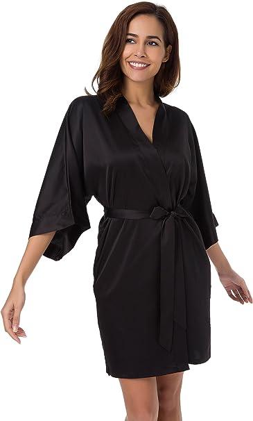 SIORO Bridemaid Robes Lace Silk Satin Womens Kimono Bathrobes for Wedding Party Small~X-Large