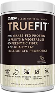 RSP TrueFit- Protein Powder Meal Replacement Shake for Weight Loss, Grass Fed Whey, Organic Real Food, Probiotics, MCT Oil, Non-GMO, Gluten Free, No Artificial Sweeteners, 2 LB Chocolate