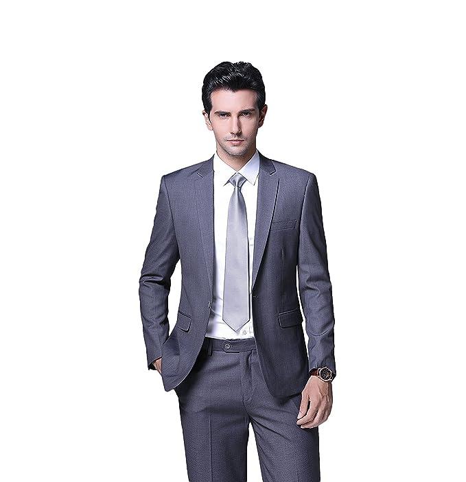 HBDesign Mens 3 Piece 1 Button Peak Lapel with 6 Button Suits Jacket Vest Pants