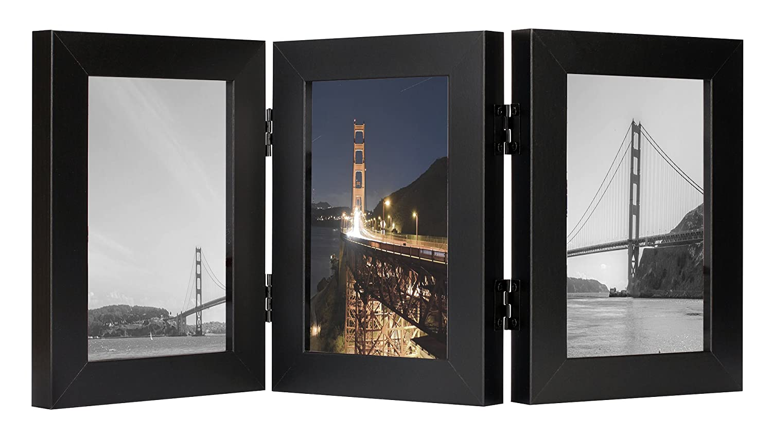 Frametory, 4x6 Inch Triple Hinged Black Picture Frame - Made to Display Three 4x6 Inch Pictures, Stands Vertically on Desktop or Table Top, Real Glass Front