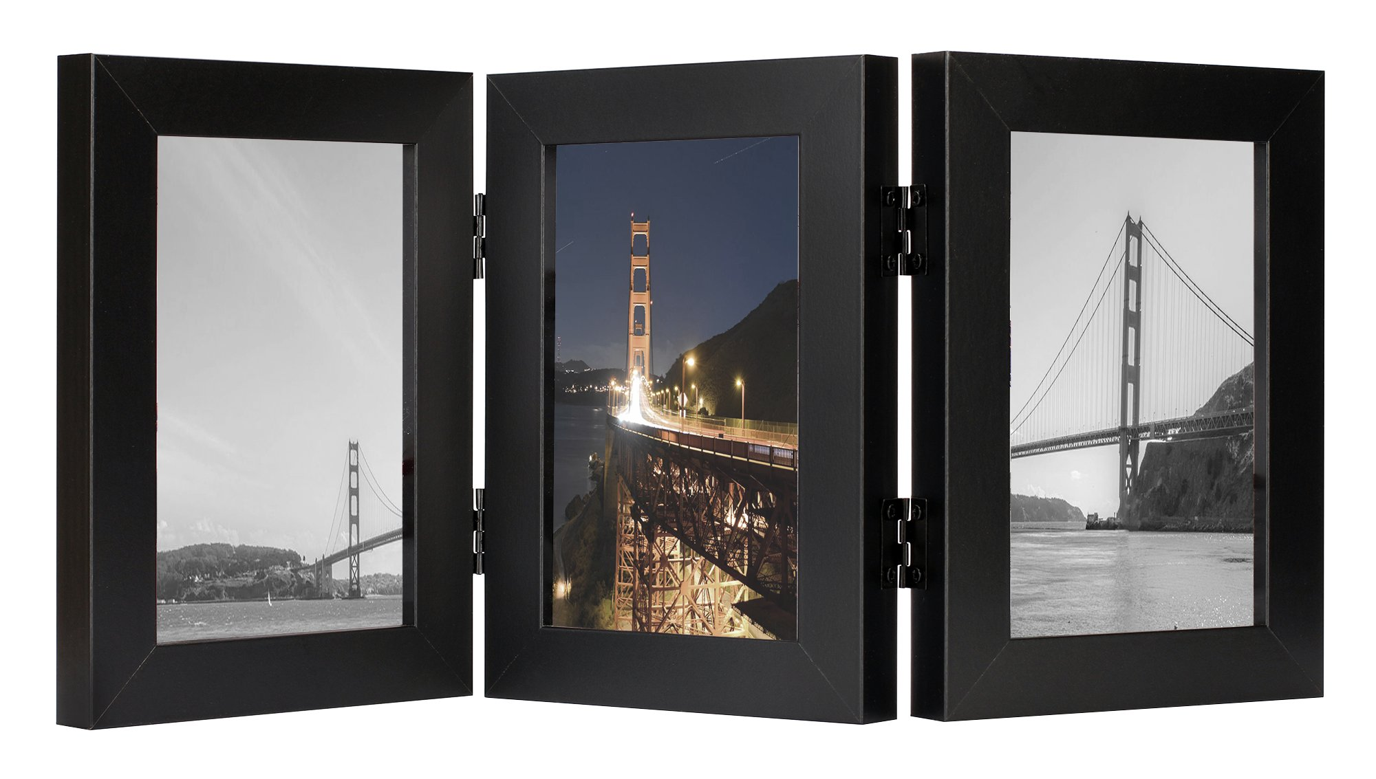 Frametory, 4x6 Inch Triple Hinged Black Picture Frame - Made to Display Three 4x6 Inch Pictures, Stands Vertically on Desktop or Table Top, Real Glass Front by Frametory