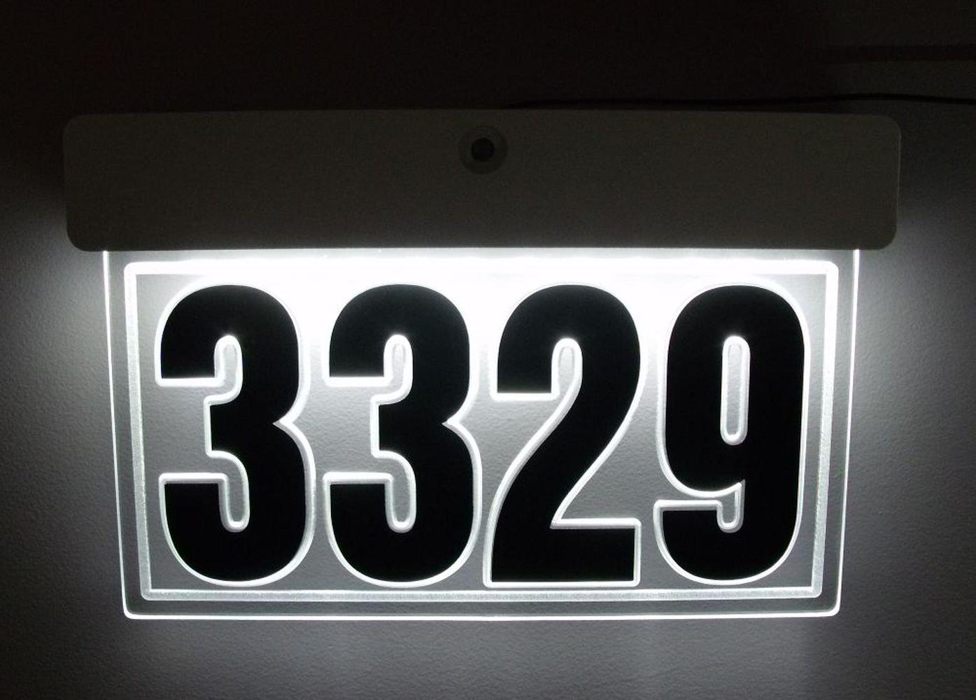 カスタムedge-lit LEDアクリルアドレスSign Lighted家番号IlluminatedアドレスSign LED照明付きアドレスPlaque B06XD13F1J