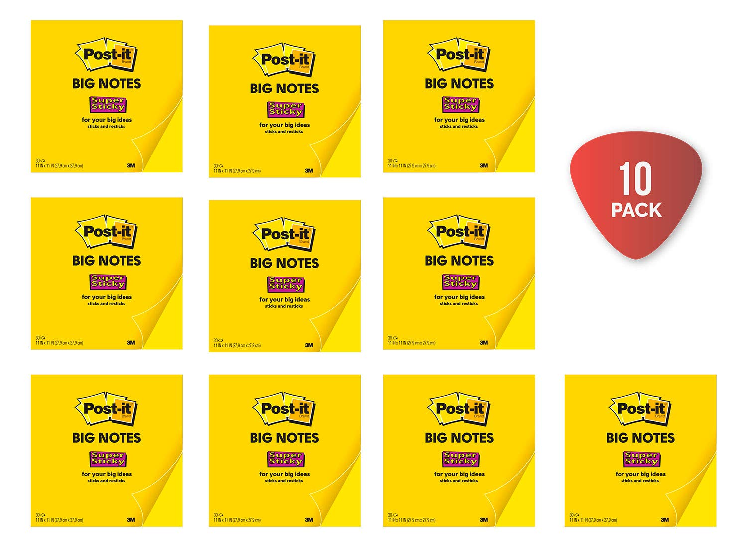 Post-it Super Sticky Big Notes, 11 x 11 Inches, 30 Sheets/Pad (BN11), Large Bright Yellow Paper, Super Sticking Power, Sticks and Resticks (Pack 10) by Post-it