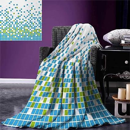 Modern Queen Flannel Blanket Mosaic Grid Pattern Pixel Art