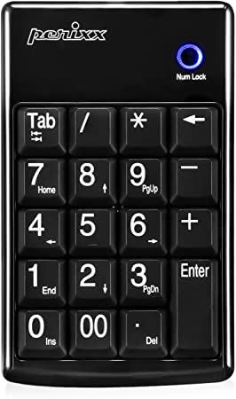 Perixx PERIPAD-602 Teclado numérico inalámbrico para Ordenador portátil – Tab Tecla Función – Cartas de impresión Grandes – Nano Receptor con ...