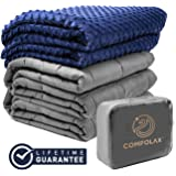 """COMFOLAX Weighted Blanket + Removable Soft Minky Duvet Cover (Grey Blanket + Navy Blue Minky Cover, 48""""x72"""" 