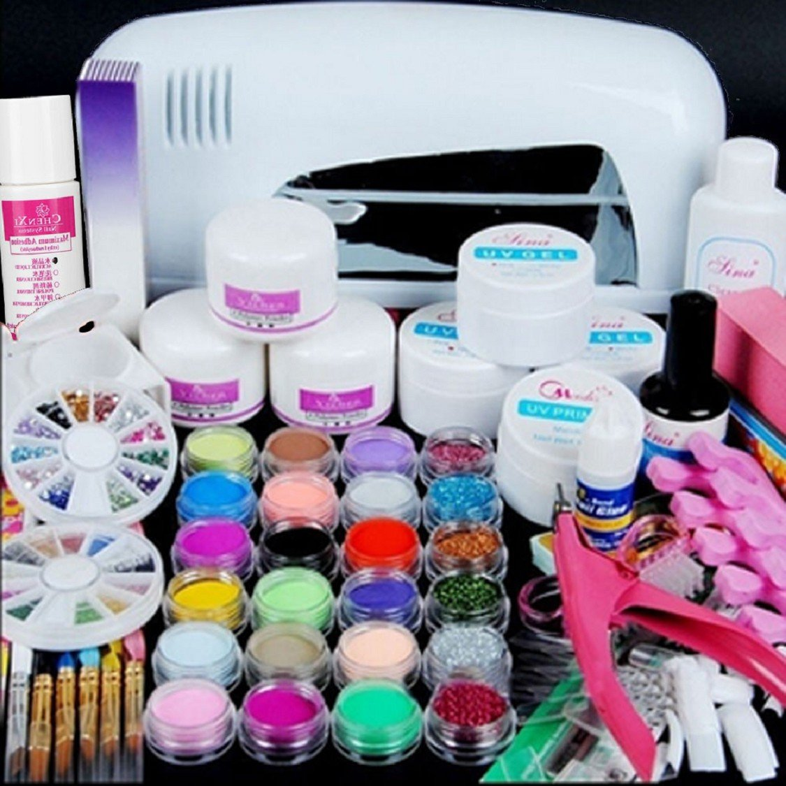 Ultimate Nail Art Tools Kit , Ikevan Hot Pro Full 9W UV White Cure Lamp Nail Art Dryer + 24 Color Acrylic Powder Gel Nail Art Tools Set Kit
