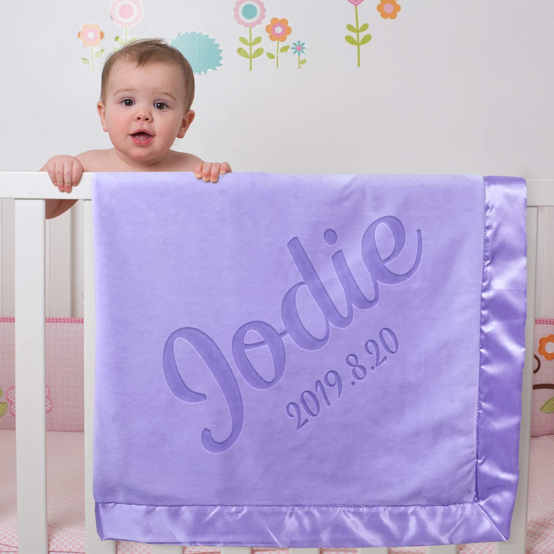 Add Name Baby Swaddling Blankets Gift Basket Satin Trim Fleece AW Personalized Baby Blanket for Boys Girls- 36x36 Inch Newborn Receiving Gifts Crib Blanket