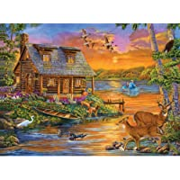 Bits and Pieces - 500 Piece Jigsaw Puzzle for Adults - Sunset Lakeside Retreat - 500 pc Forest Cottage Jigsaw by Artist Cory Carlson
