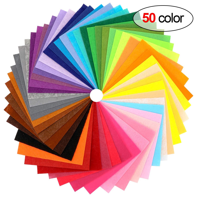 Howaf 50 Colores Fieltro Hojas para Manualidades, No Tejido ...