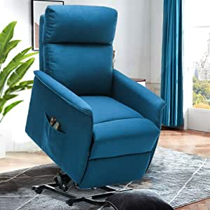 ERGOREAL Power Lift Recliner Chairs for Elderly with Massage, Heated Electric Chair Lift for Senior, Petite Lift Chair Linen Fabric with Remote Control, Motorized Single Sofa-Blue