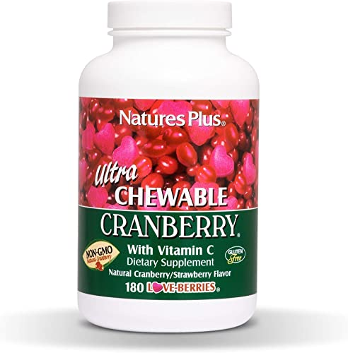 NaturesPlus Ultra Chewable Cranberry Love Berries – 400 mg, 180 Vegetarian Tablets – Natural Cranberry Supplement, Promotes Urinary Tract Health – Non-GMO, Gluten-Free – 90 Servings