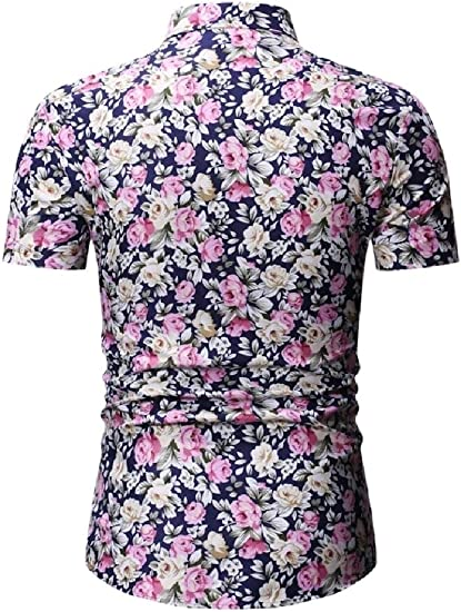 YY-qianqian Mens Slim Fit Printing Beach Lapel Stylish Short Sleeve Polo Shirt