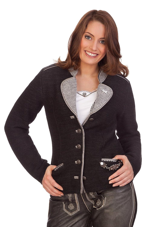 Damen Trachten Strickjanker - TEISING - schwarz, natur, dunkelbraun, Größe S