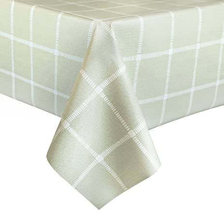Elegant LEEVAN Heavy Weight Vinyl Square Table Cover Wipe Clean PVC Tablecloth  Oil Proof/Waterproof