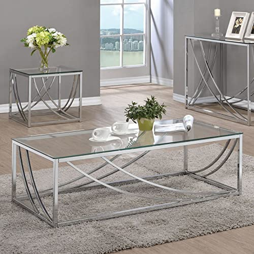 Coaster Glass Top Coffee Table, Chrome