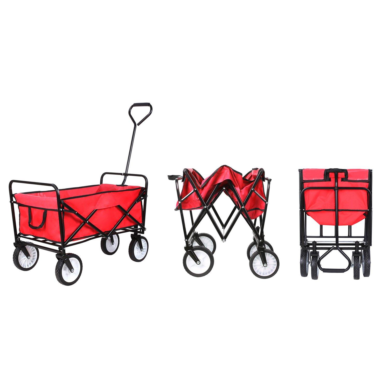 HOMFA Carro Plegable de Mano Carro transporte para jardín Carro para playa Carga 80kg (Rojo)
