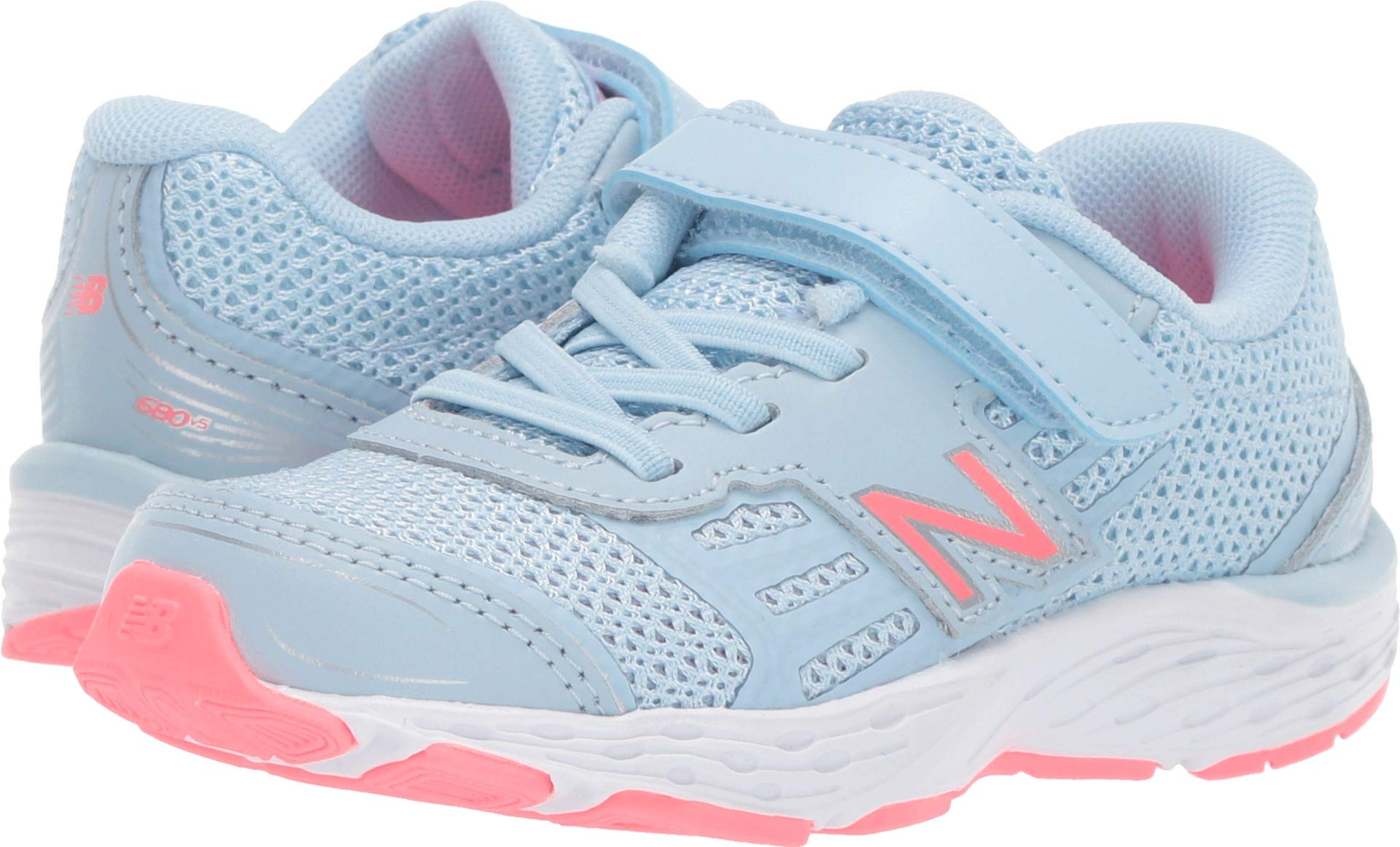 New Balance Girls' 680v5 Hook and Loop Running Shoe air/Guava 8 M US Toddler