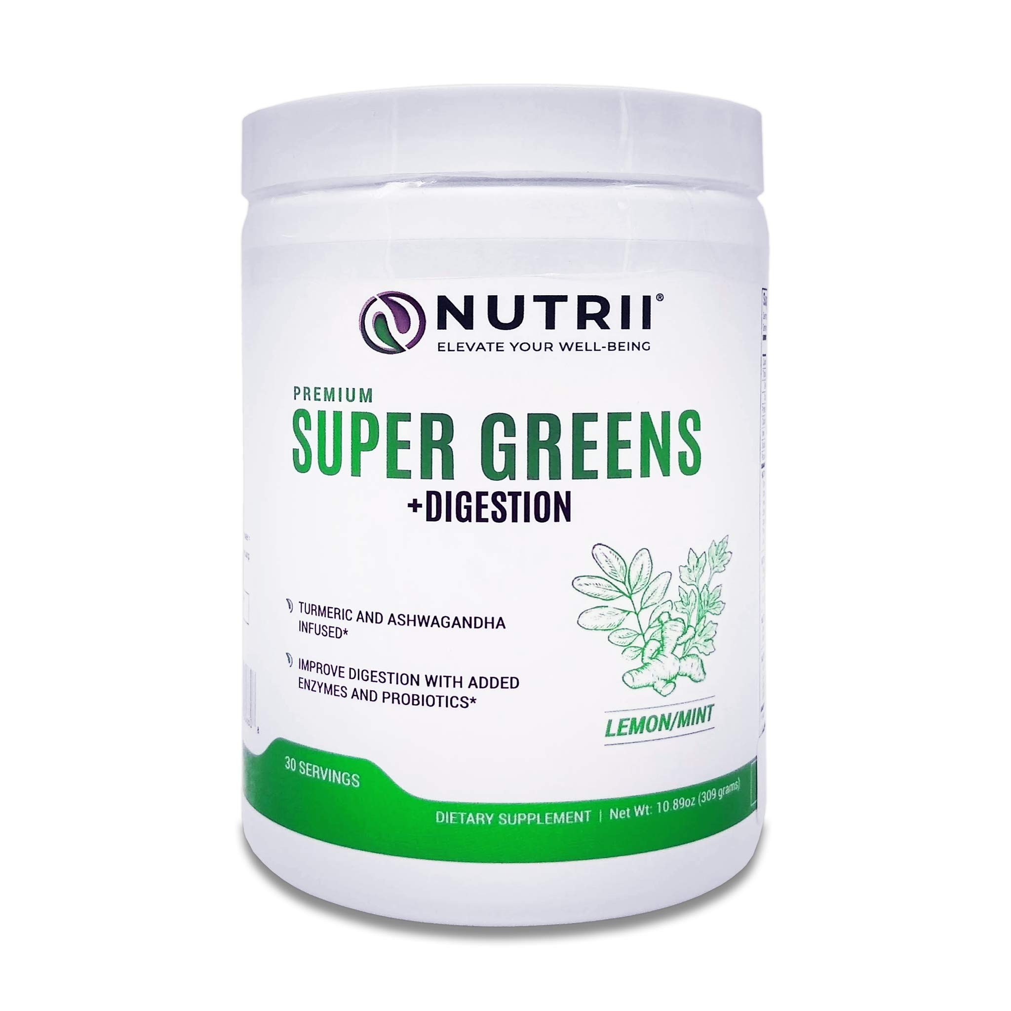 Nutrii - #1 Organic Super Greens + Digestion, Turmeric and Ashwagandha Infused, Veggie Superfood, Antioxidant, Vegan Supplement, Amazing Lemon/Mint Flavor, Organic Stevia Leaf (10.89oz, 30 Serv) by Nutrii
