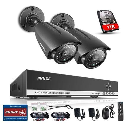 ANNKE 1080P Lite 4 CH DVR y 2 Cámaras con 1TB Disco Duro de vigilancia Visión