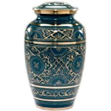 Azure Cremation Urn by Beautiful Life Urns - Exquisite Blue Funeral Urn with Stunning Gold Etched Design (Large, Adult)