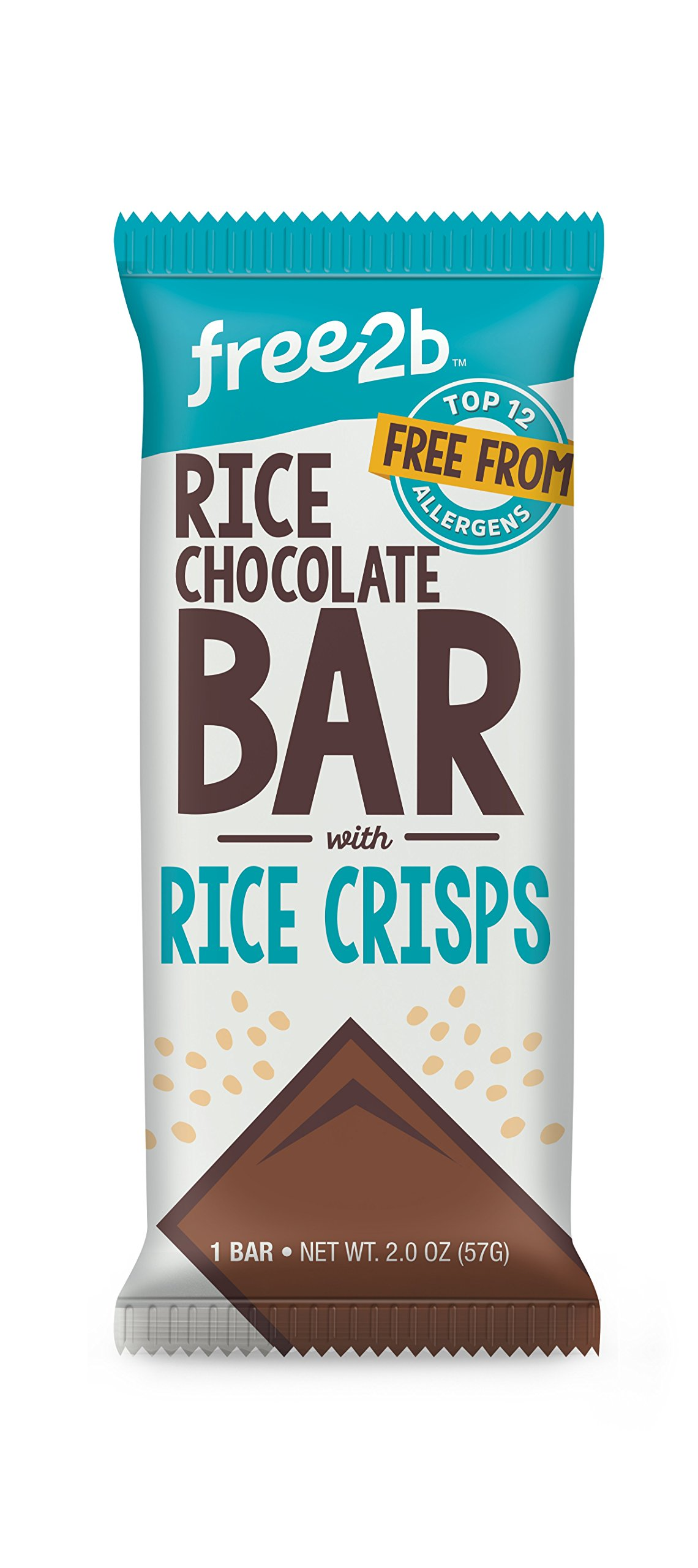 Free2b Foods Rice Chocolate & Rice Crunch Bar Gluten-Free, Dairy-Free, Nut-Free and Soy-Free - 2 Oz. (Pack of 10)