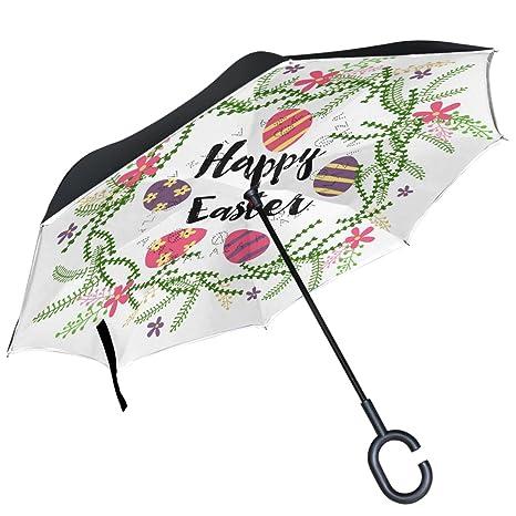 ALAZA feliz colorido huevos de Pascua flores corona de flores Círculo Diseño Doble Capa Resistente al