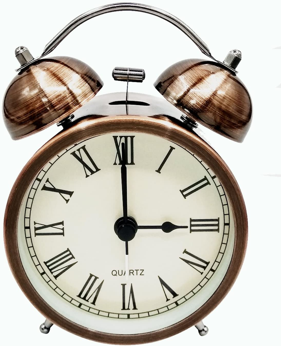 COOJA Vintage Reloj Despertador de Doble Campana con Sonido Fuerte, Alarma Despertador sin Tic TAC Silencioso Analogico Despertadores de Viaje para Infantil Juvenil Niña (3 Pulgadas)