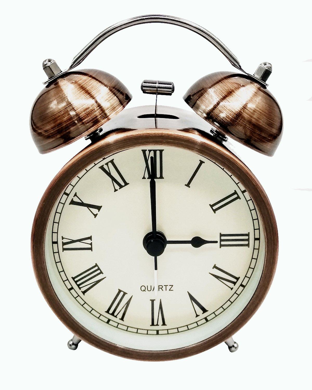 COOJA Vintage Alarm Clock Non Ticking Quiet Night Light, 3