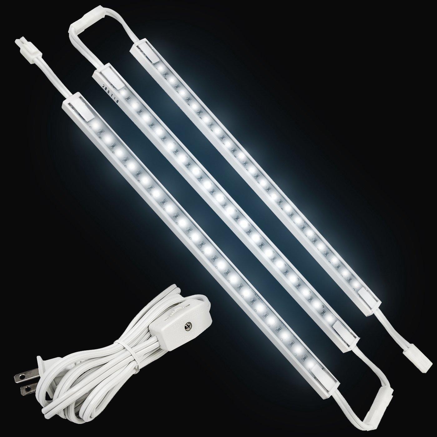 LED Concepts Under Cabinet & Closet Linkable LED Light Bars -ETL Listed Power Supply (12'' Inch -3PK, White)