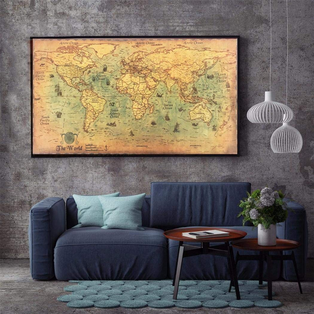 Minlop World Map Wall Sticker World Scratch Map Huge Scratch Off Map Poster Waterproof Vintage Wall Decals Peel and Stick Removable Wall Stickers for Kids Nursery Bedroom Living Room 1PCS