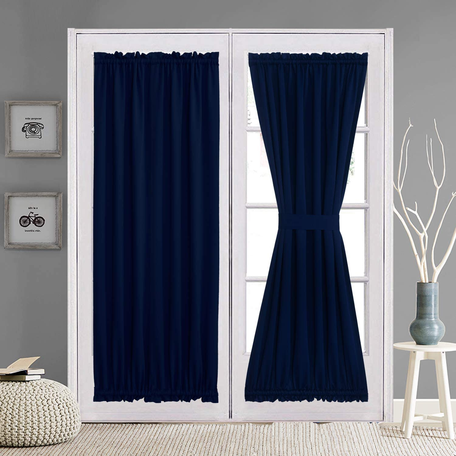 aquazolax patio door curtain panels for privacy thermal insulated 54 x72 blackout drapery solid curtains window treatment sets with tiebacks for