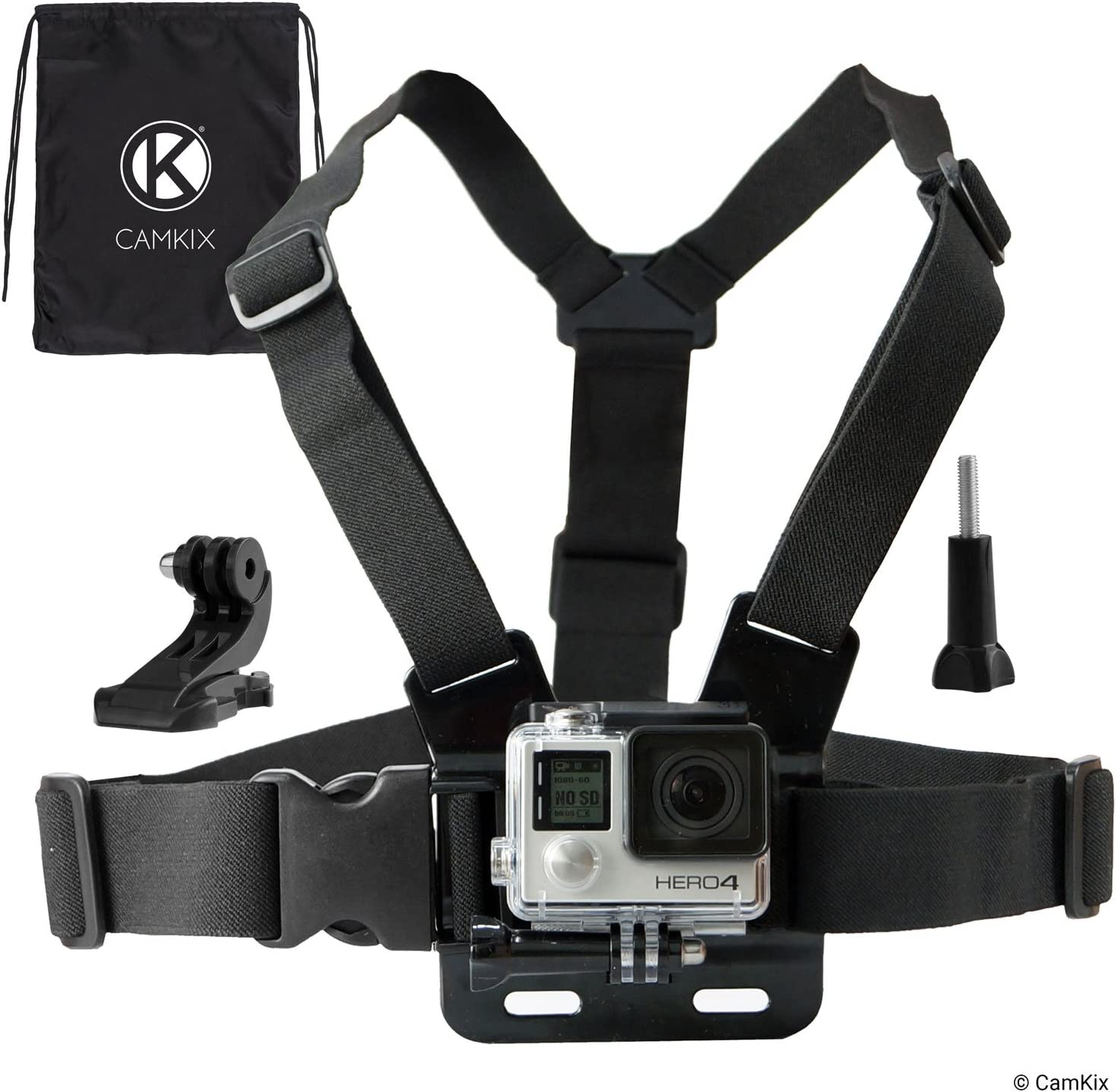 CamKix Chest Mount Harness Compatible with Gopro Hero 8 Black, 7, 6, 5, Black, Session, Hero 4, Session, Black, Silver, Hero+ LCD, 3+, 3, 2, 1, DJI Osmo Action – Fully Adjustable Chest Strap