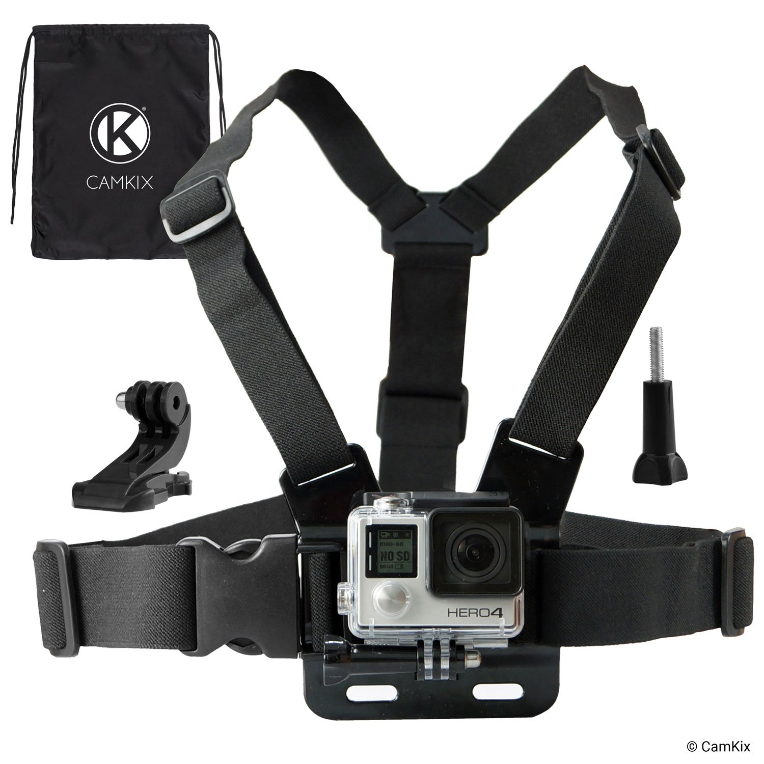 CamKix Chest Mount Harness Compatible with Gopro Hero 8 Black, 7, 6, 5, Black, Session, Hero 4, Session, Black, Silver, Hero+ LCD, 3+, 3, 2, 1, DJI Osmo Action - Fully Adjustable Chest Strap by CAMKIX