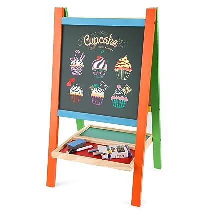 Befied Pizarra infantil Pizarra madera de tiza y magnética con pies adjustables para niños Pizarra para pintar y dibujar