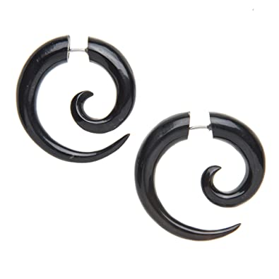 81stgeneration Women's Men's Black Horn Fake Taper Stretcher Spiral Twist 16 Gauge Tribal Earrings GPpVv