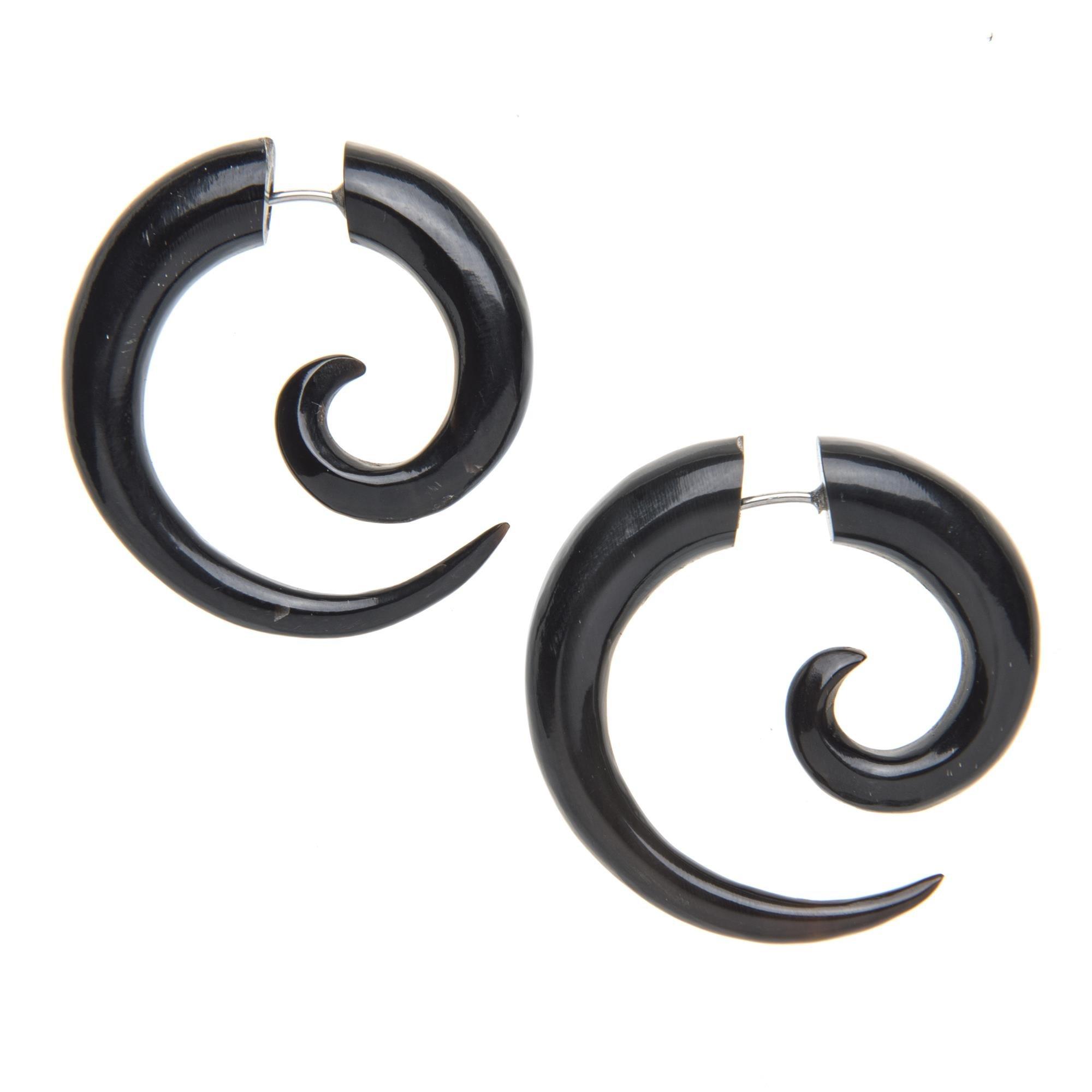 81stgeneration Women's Men's Black Horn Fake Taper Stretcher Large Round Spiral Tribal Earrings