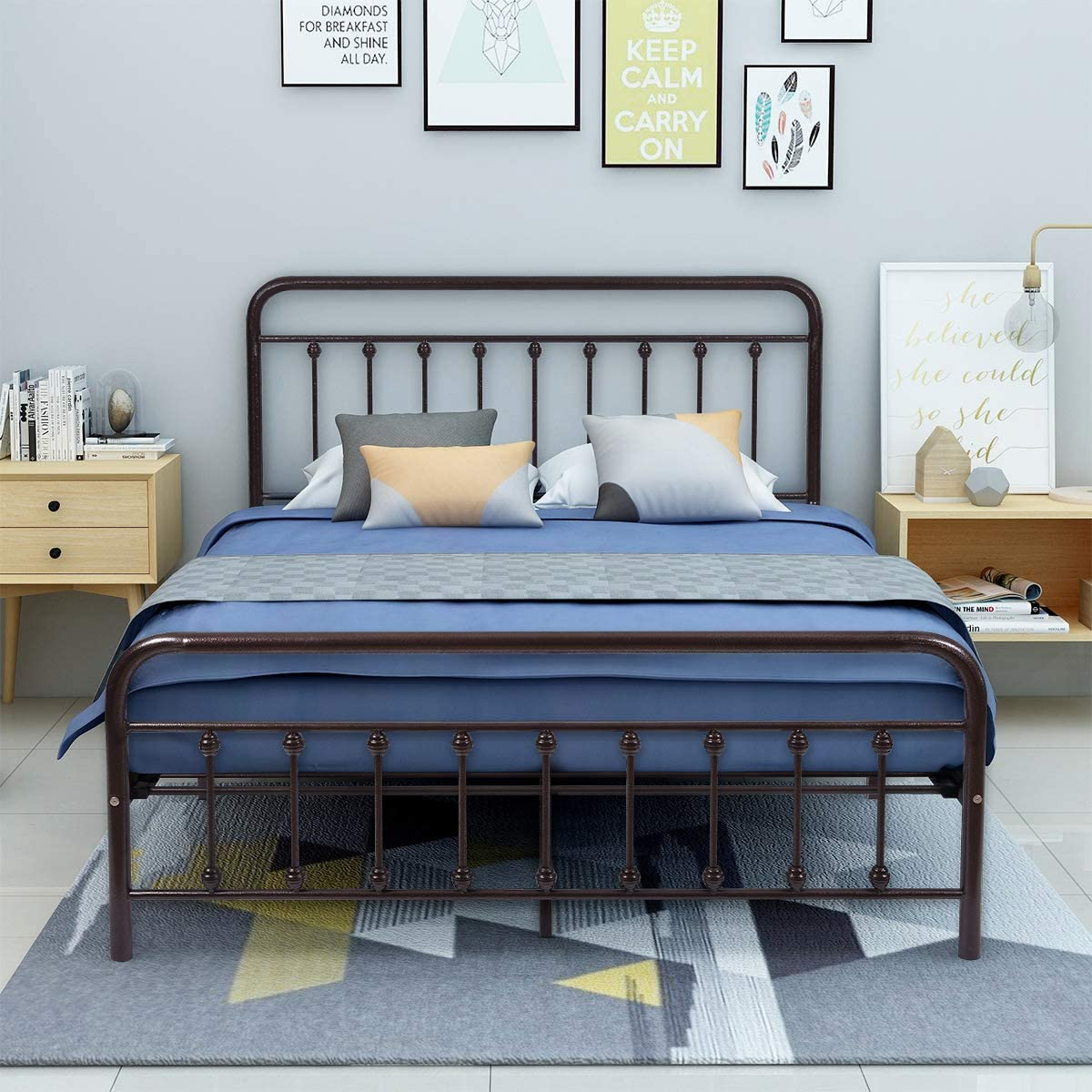 AUFANK Metal Bed Frame Queen Size Victorian Vintage Style Headboard and Footboard No Box Spring Heavy Duty Steel Slat Mattress Foundation Bronze