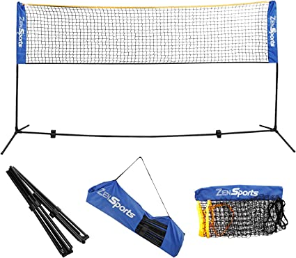 Easy Setup Nylon Sports Net with Poles Pickleball Kids Volleyball Boulder Portable Badminton Net Set Driveway ... 10-Ft Mini Size for Tennis For Indoor or Outdoor Court Beach Soccer Tennis
