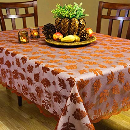 Camlinbo Fall Decor Maple Leaves Tablecloth Brown Rectangle Lace Table Cover Thanksgiving Decoration Fall Table Linen Perfect for Harvest Festival Party Dinner TableToppers Everyday Use best Thanksgiving tablecloths
