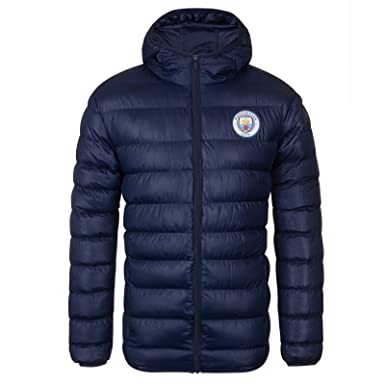 Manchester City FC Official Gift Mens Quilted Hooded Winter Jacket Navy  Small cb7a0e902
